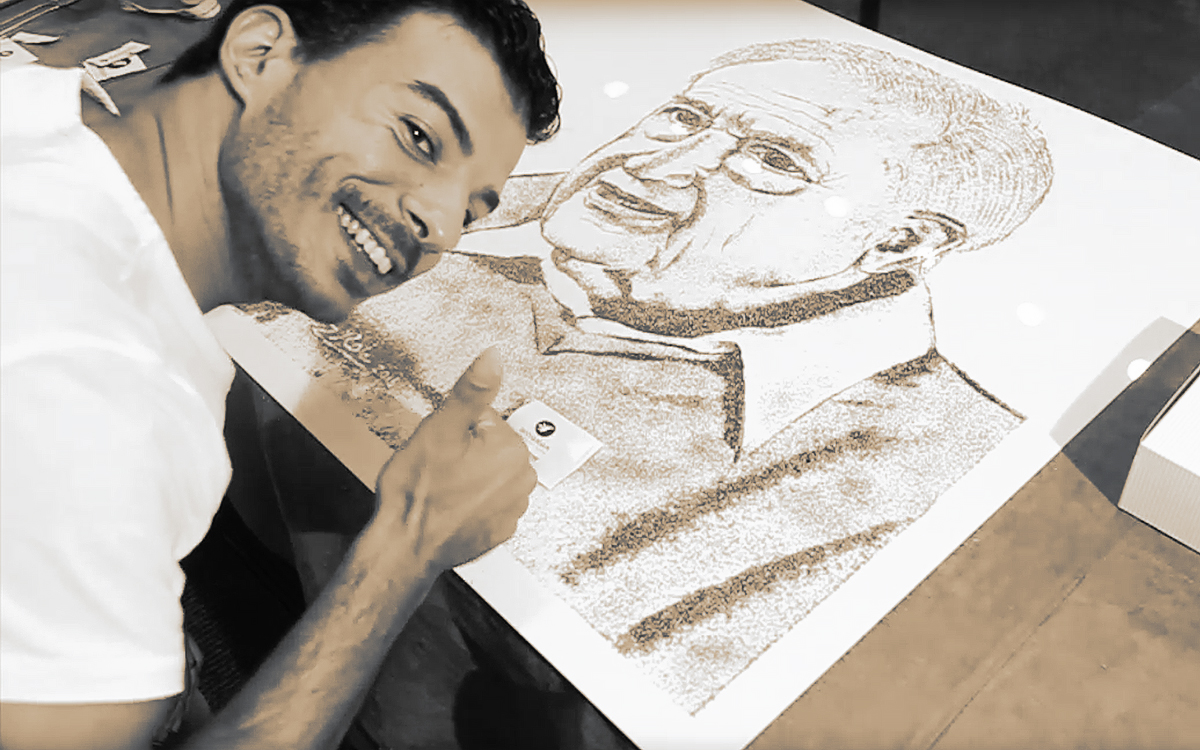 "Israeli Artist, Roy Znaty ""Draws"" Herbal Portrait of Prof. Raphael Mechoulam, The ""Father of Cannabis"" 3"